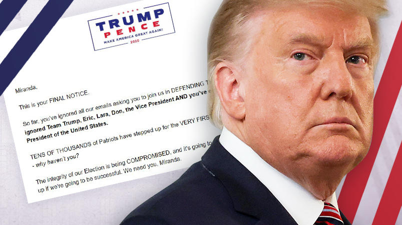 Trump drängt Anhänger mit Bettelmails zu Spenden.