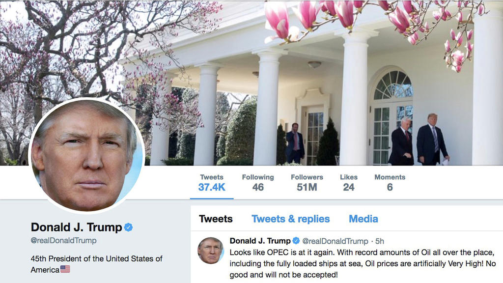 FILE PHOTO: The masthead of U.S. President Donald Trump's @realDonaldTrump Twitter account with a message about OPEC policy is seen on April 20, 2018.  @realDonaldTrump/Handout via REUTERS ATTENTION EDITORS - THIS IMAGE WAS PROVIDED BY A THIRD PARTY/