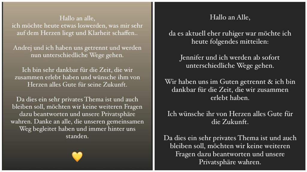 So verkünden Jenny Lange (l.) und Andrej Mangold (r.) bei Instagram ihr Liebes-Aus