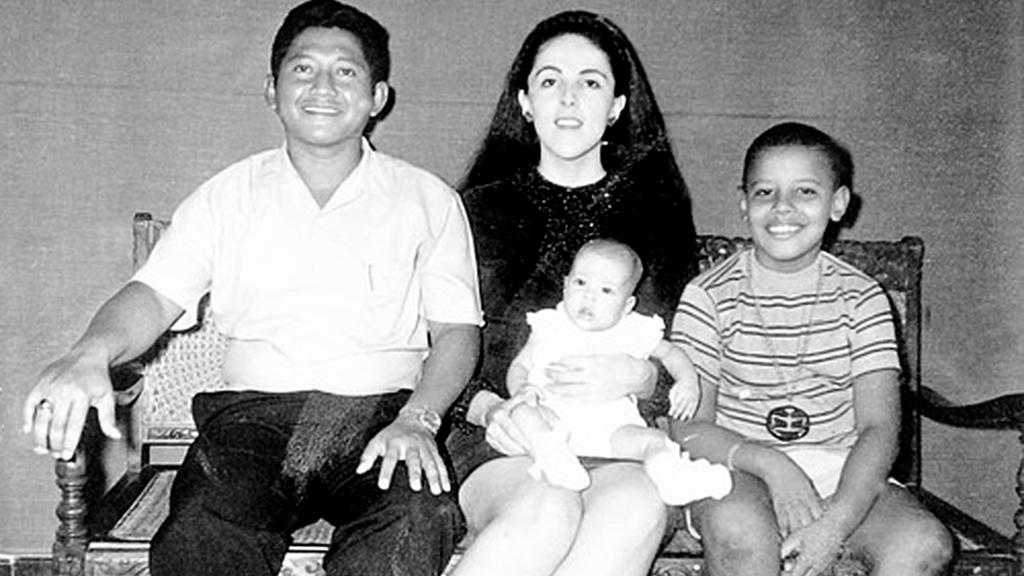 Democratic Presidential candidate Sen. Barack Obama (D-IL) is pictured with his mother Ann (C), his half-sister Maya Soetoro, and his stepfather Lolo Soetoro (L) in an undated childhood photo taken in Jakarta, Indonesia. Obama lived and attended loca