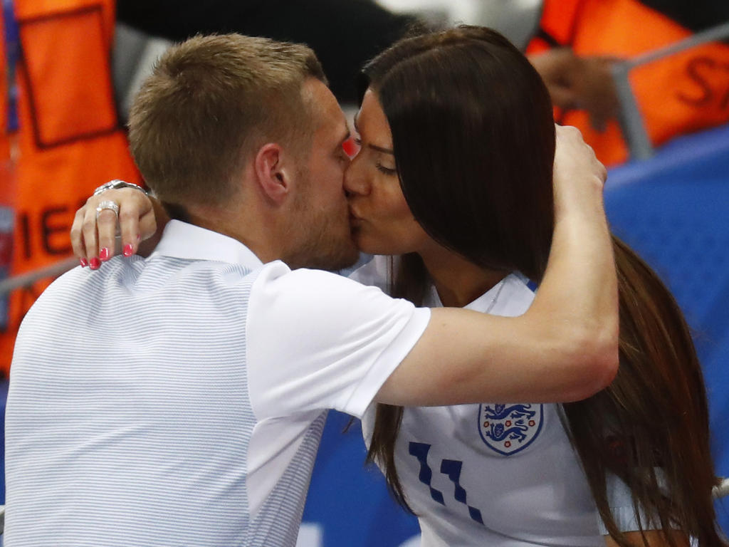 Football Soccer - England v Iceland - EURO 2016 - Round of 16 - Stade de Nice, Nice, France - 27/6/16England's Jamie Vardy with wife Rebekah Vardy at the end of the matchREUTERS/Kai PfaffenbachLivepic