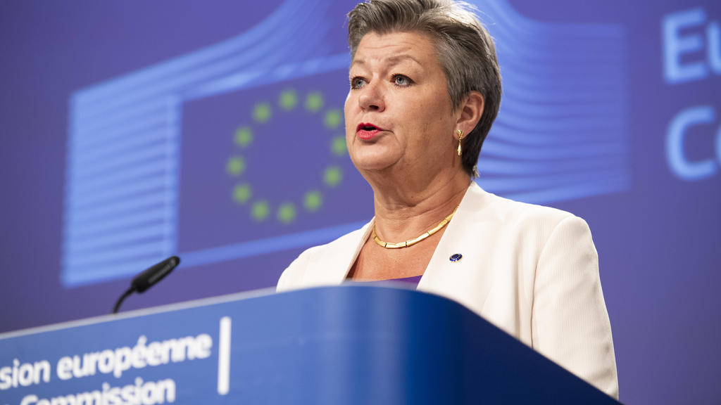 200713 -- BRUSSELS, July 13, 2020 Xinhua -- European Commissioner for Home Affairs Ylva Johansson speaks at a press conference at the EU headquarters in Brussels, Belgium, July 13, 2020. Five European states and five African countries agreed at a me