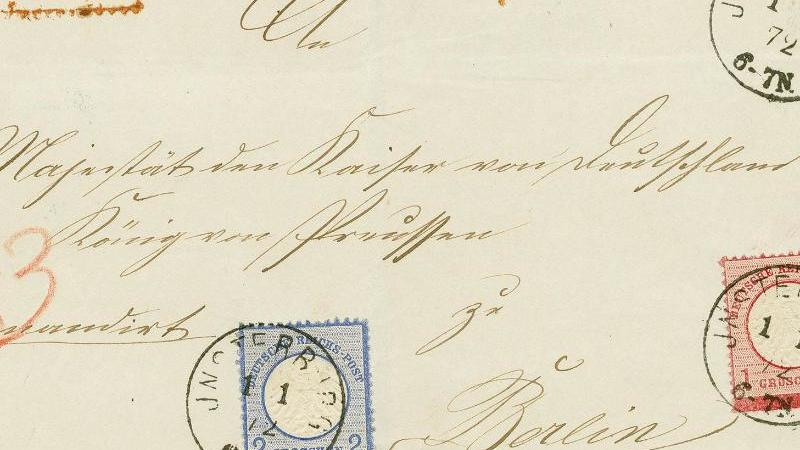 Das Handout zeigt einen Brief an Kaiser Wilhelm. Foto: --/Fauth Gundlach & Hübl/dpa