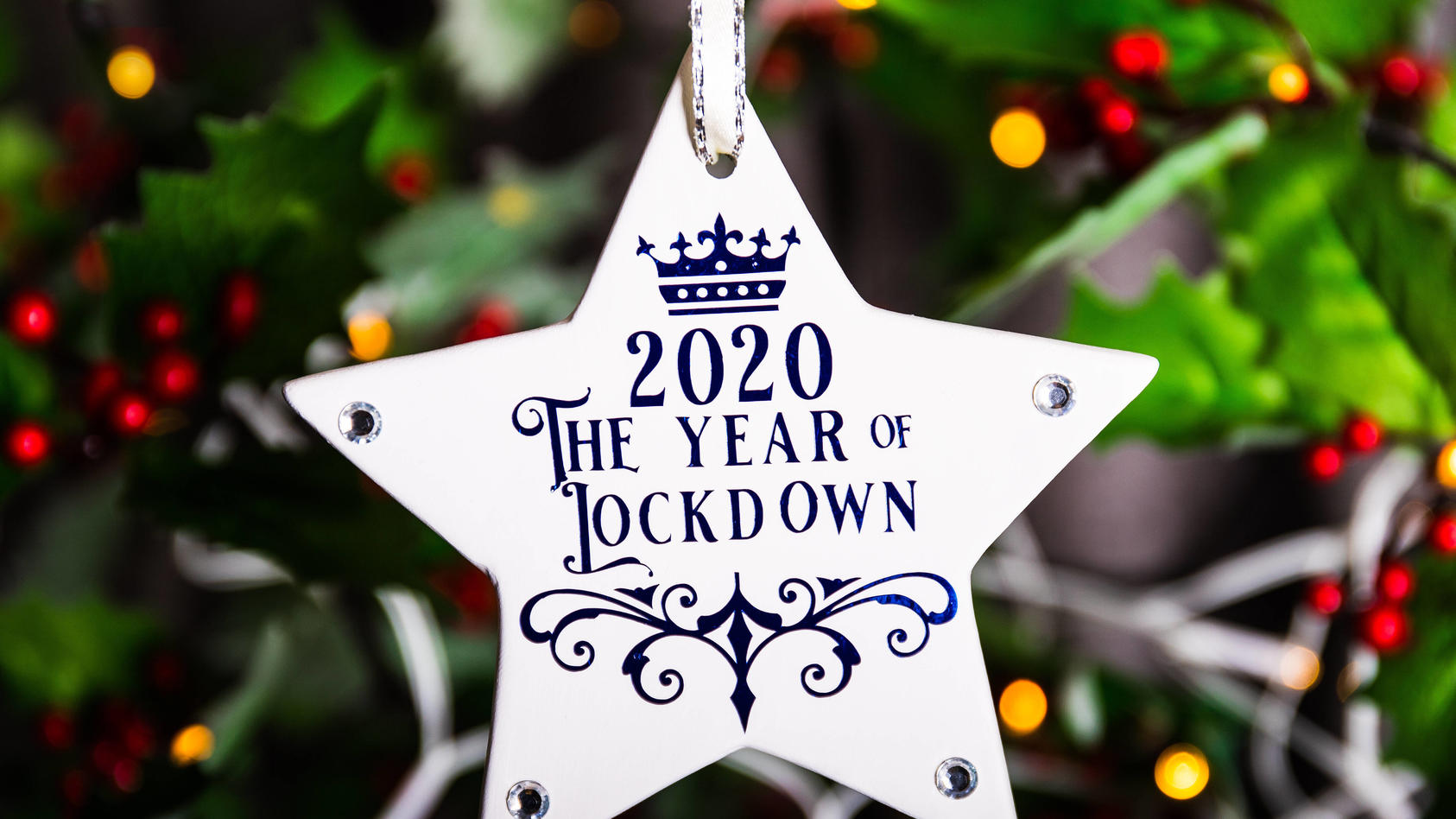 Coronavirus - Mon Nov 9, 2020 A general view of a Christmas decoration that says 2020 The Year of Lockdown hanging on a