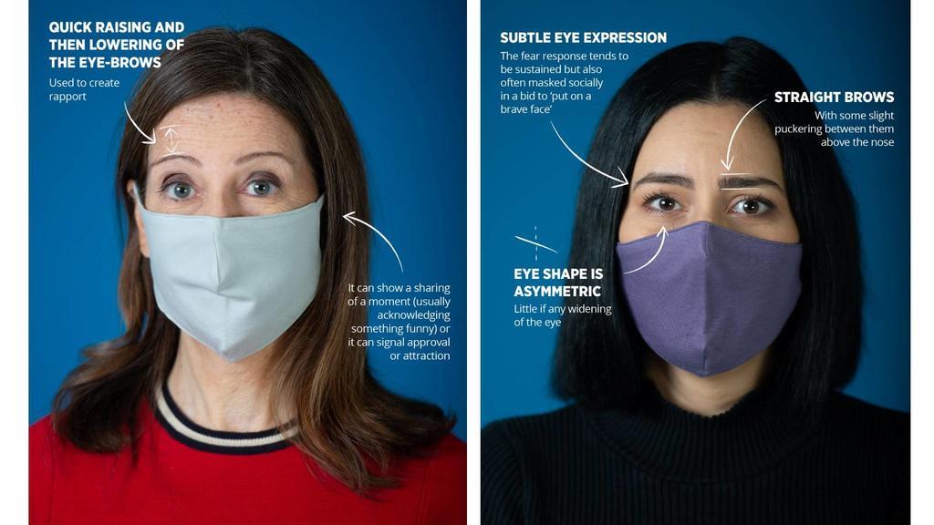 Links: Frau hebt Augenbraue als Zeichen der Zustimmung, rechts: