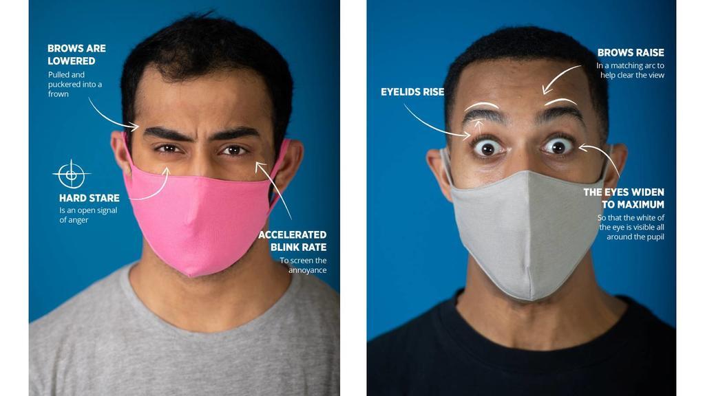 Links: Starrer Blick mit gesenkten Augenbrauen signalisiert Wut. Rechts: Weit geöffnete und angehobene Augen stehen für einen absoluten Schock/Überraschung.