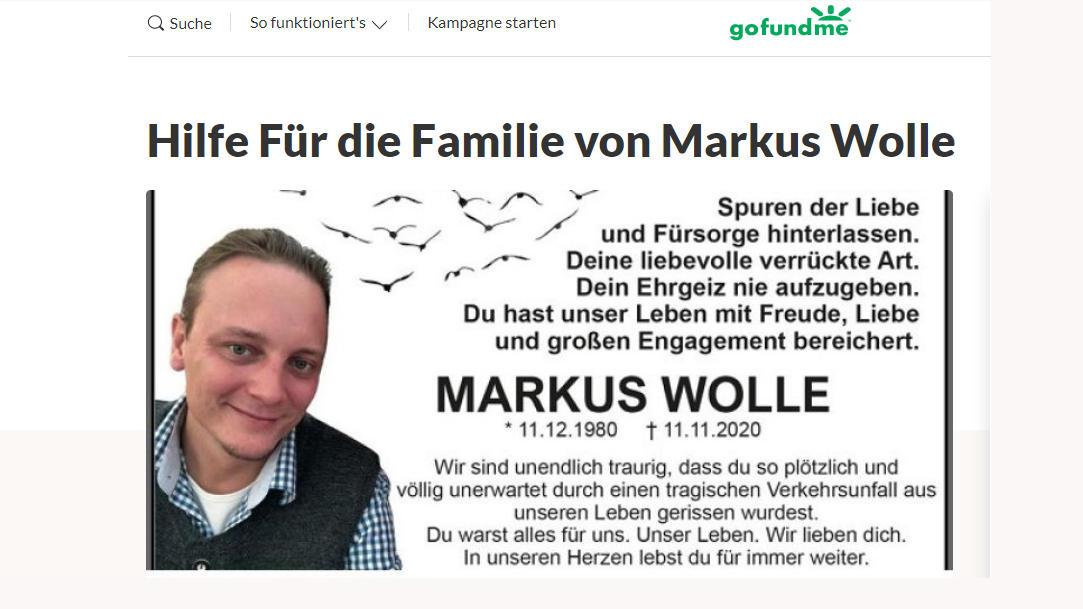 Spendenaufruf für Familie von verstorbenen Markus Wolle