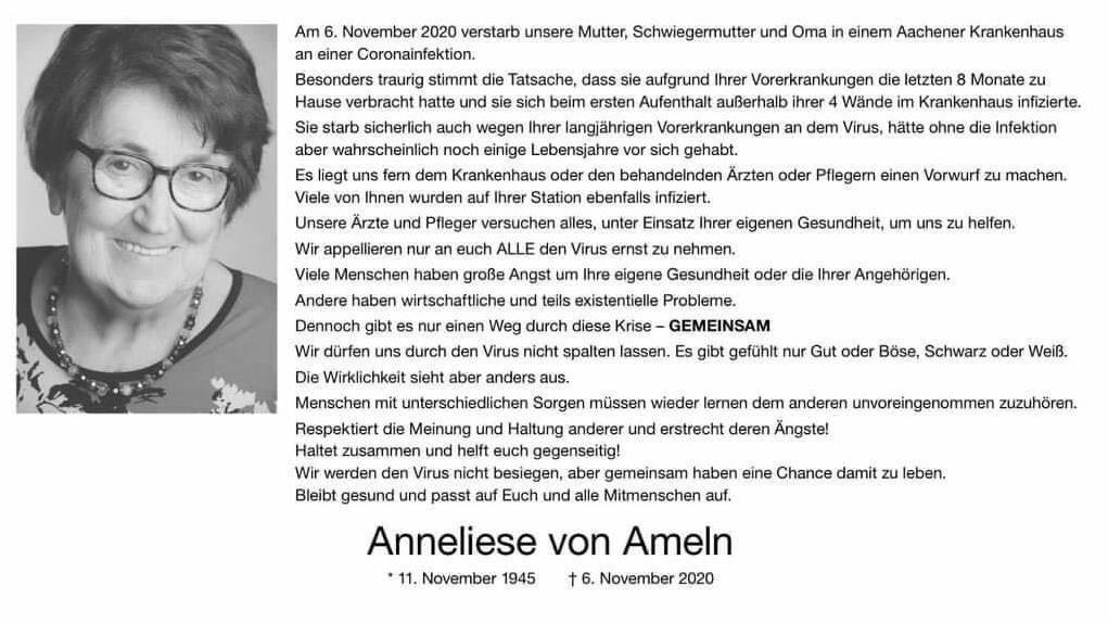 Mit dieser Todesanzeige will Annelieses Familie nicht nur das Bewusstsein für das Virus stärken, sondern auch Hoffnung machen.