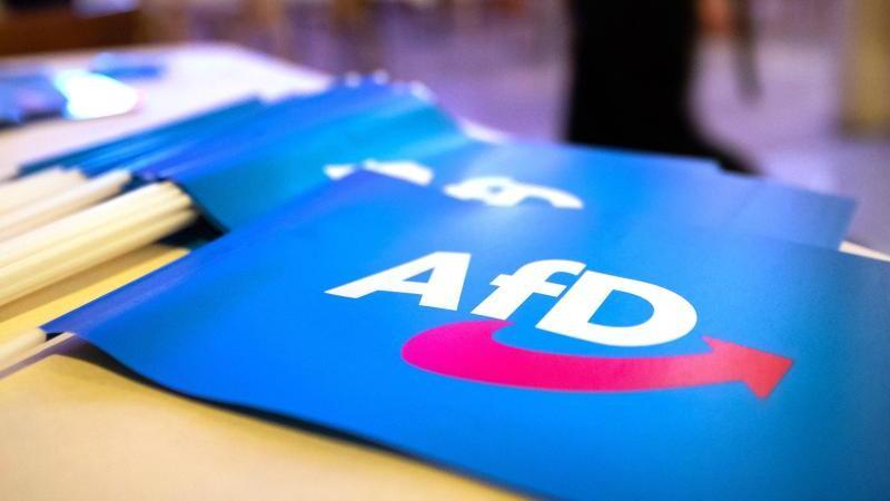 Fähnchen mit dem Logo der AfD. Foto: Daniel Karmann/dpa/Symbolbild/Archiv