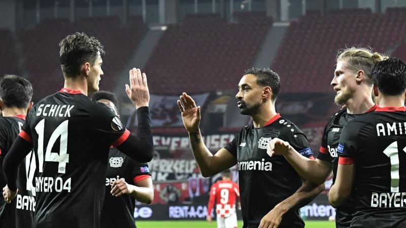 Bayer Leverkusen hatte mit Hapoel Be'er Sheva keine Probleme. Foto: Martin Meissner/AP POOL/dpa