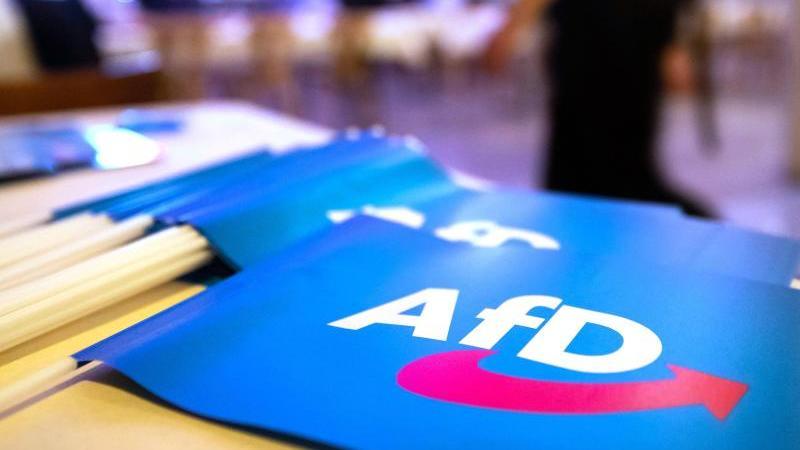 Rund 600 Delegierte der AfD kommen zu einem Bundesparteitag in Kalkar zusammen. Foto: Daniel Karmann/dpa