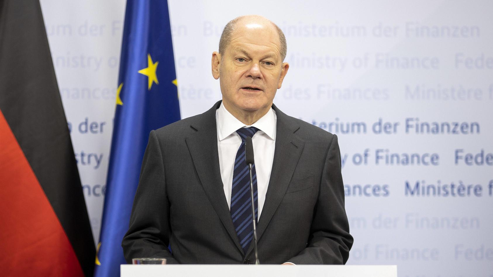 Olaf Scholz, Bundesminister der Finanzen, gibt zu den aktuellen Corona-Hilfen eine Pressekonferenz.
