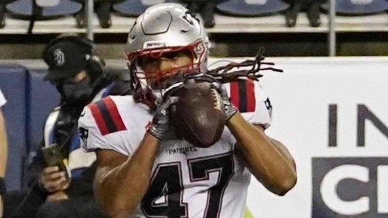 Patriots-Fullback Jakob Johnson. Foto: Elaine Thompson/AP/dpa