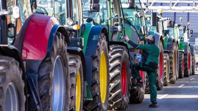 Traktoren sind bei einer Bauerndemo zu sehen. Foto: Jens Büttner/dpa-Zentralbild/dpa/Archivbild