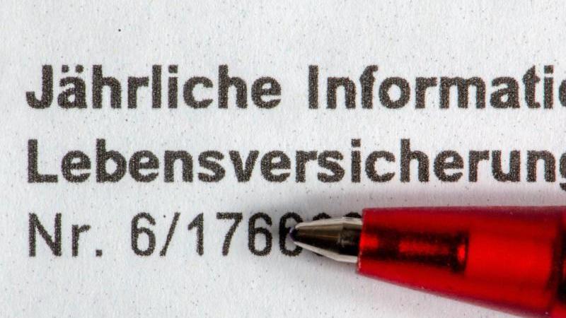 """""""Jährliche Information Lebensversicherung"""" steht auf dem Bescheid einer Lebensversicherung. Foto: Armin Weigel/dpa"""