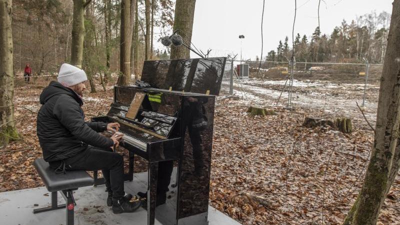 Der Pianist Igor Levit spielt im Dannenröder Forst. Foto: Boris Roessler/dpa/Archivbild