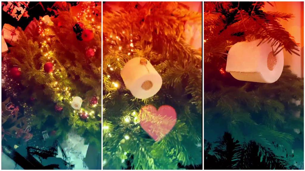 Heidi Klums Weihnachtsbaum ist mit Klopapierrollen geschmückt