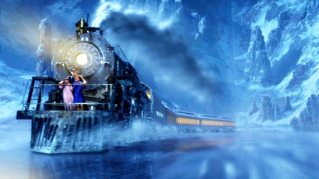 Unterwegs erleben die Kinder im Polarexpress allerhand Abenteuer. So droht der Zug beispielsweise wegen überhöhter Geschwindigkeit zu entgleisen, kurz bevor er auf einem gefrorenen See abbremst...