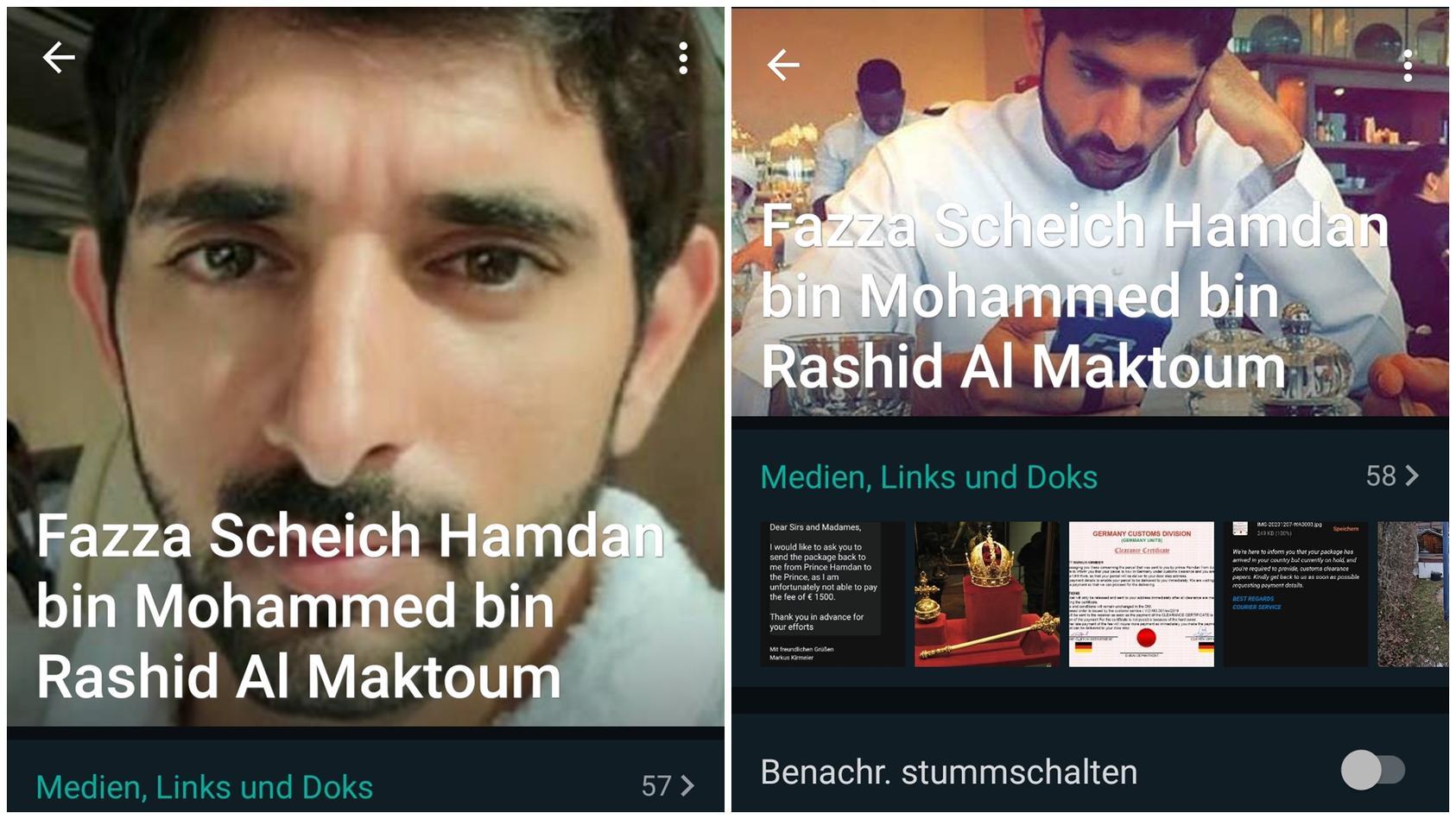 Das Whatsapp-Profil des angeblichen Prinzen von Dubai.