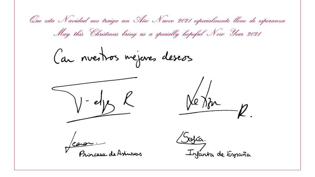 Tarjeta de Navidad de la Familia Real Española firmada a mano.