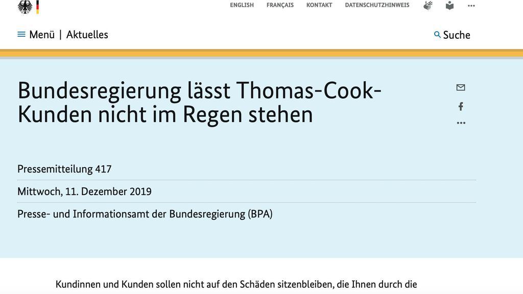 Screenshot Homepage Bundesregierung