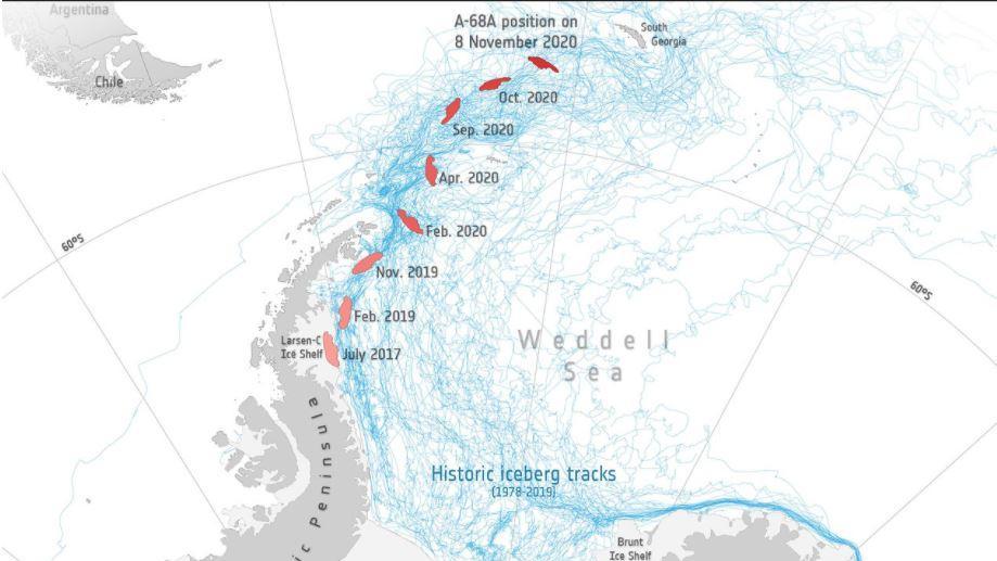 Der Eisberg steuert immer mehr auf Südgeorgien zu