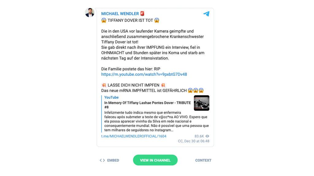 Michael Wendlers Post bei Telegram