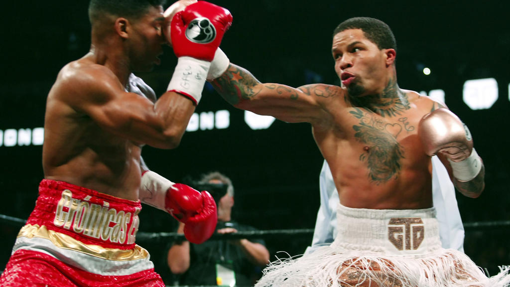 FILE - In this Dec. 29, 2019, file photo, Gervonta Davis, right, lands a punch on Yuriorkis Gamboa during round eight in their WBA lightweight bout in Atlanta. Davis wants to become a pay-per-view star, much like his promoter and mentor Floyd Mayweat