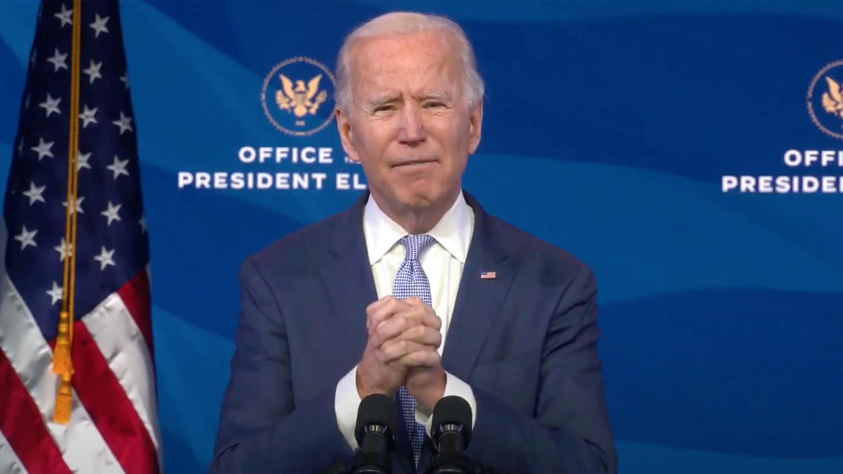 January 6, 2021, Wilmington, Delaware, USA: United States President-elect Joe Biden delivers remarks from the Queen The