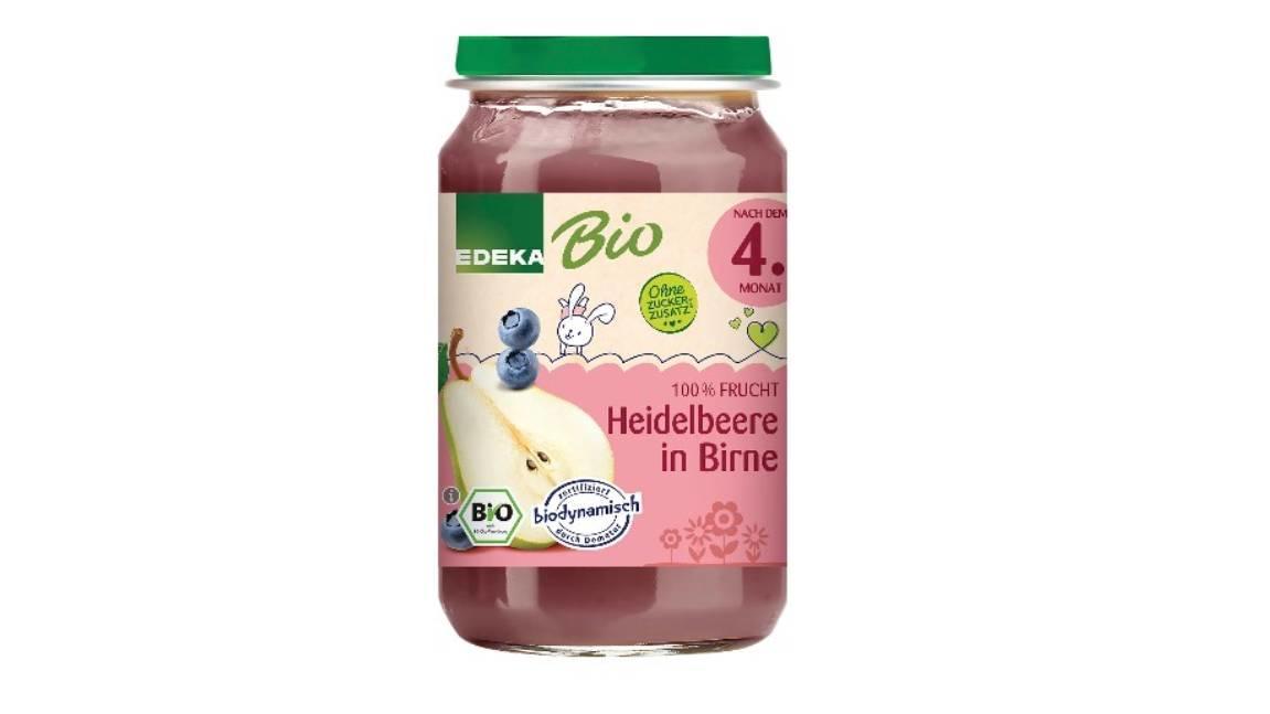 """Glasstücke in """"Edeka Bio Heidelbeere in Birne nach dem 4.Monat"""" möglich."""