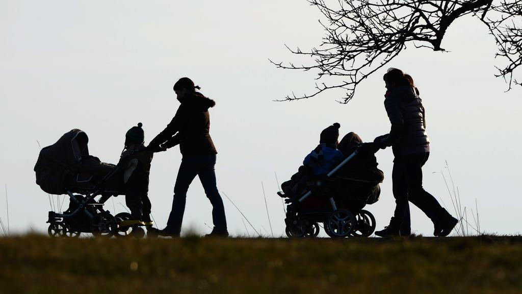 """ARCHIV - 25.02.2014, Baden-Württemberg, Oberhomberg: Zwei Frauen schieben ihre Kinderwagen eine Landstraße entlang. (zu dpa """"AfD will junge Frauen mit Geld zum Kinderkriegen motivieren"""") Foto: picture alliance / Felix Kästle/dpa +++ dpa-Bildfunk +++"""