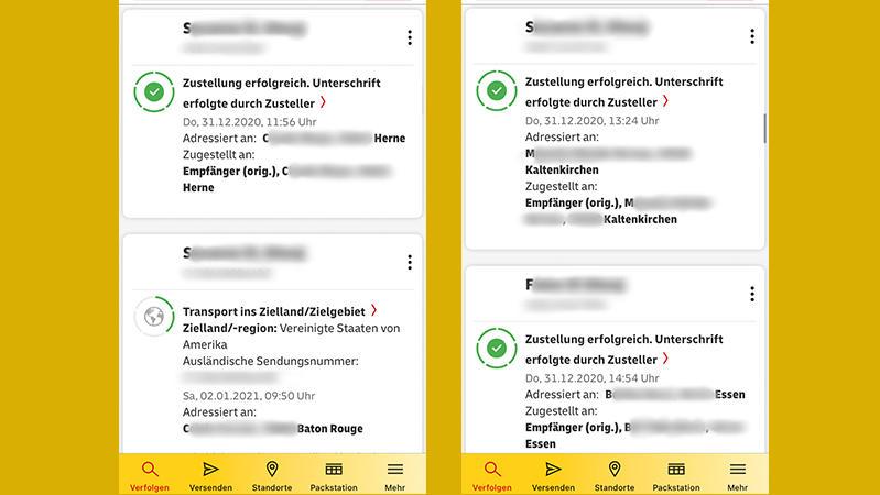 Ralf Weck bekommt in seiner DHL App den Status fremder Pakete angezeigt.