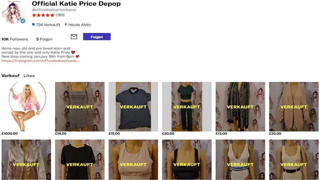 """So sieht Katie Prices Angebot auf """"depop.com"""" aus: Kleider, Bikinis und Hosen für durchschnittlich 15 Pfund."""
