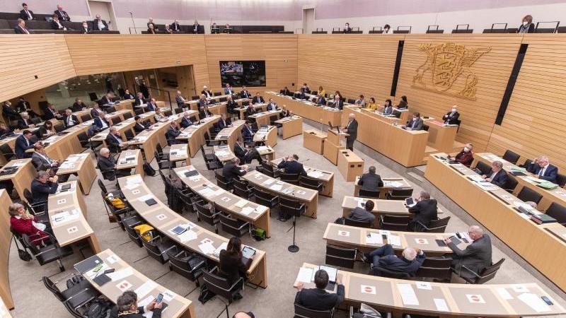 Abgeordnete sitzen im Landtag von Baden-Württemberg. Foto: Christoph Schmidt/dpa