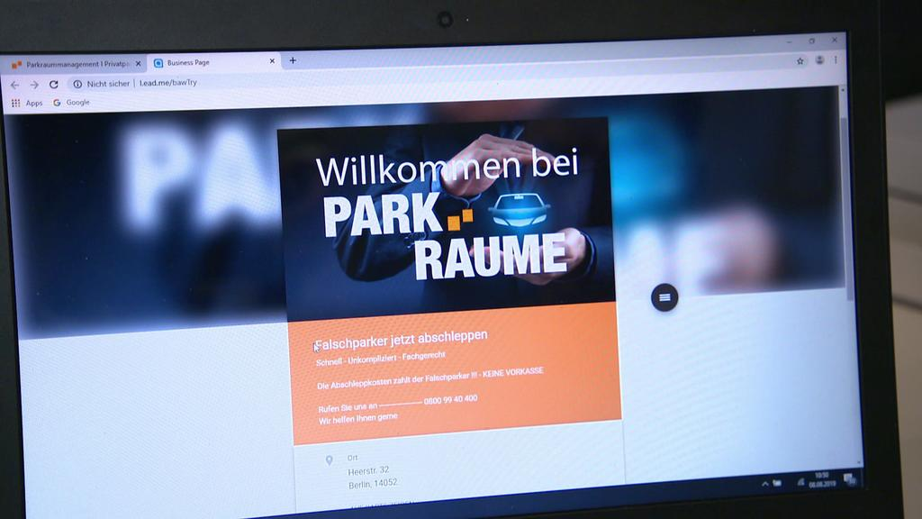"""Website der """"Parkräume KG"""""""