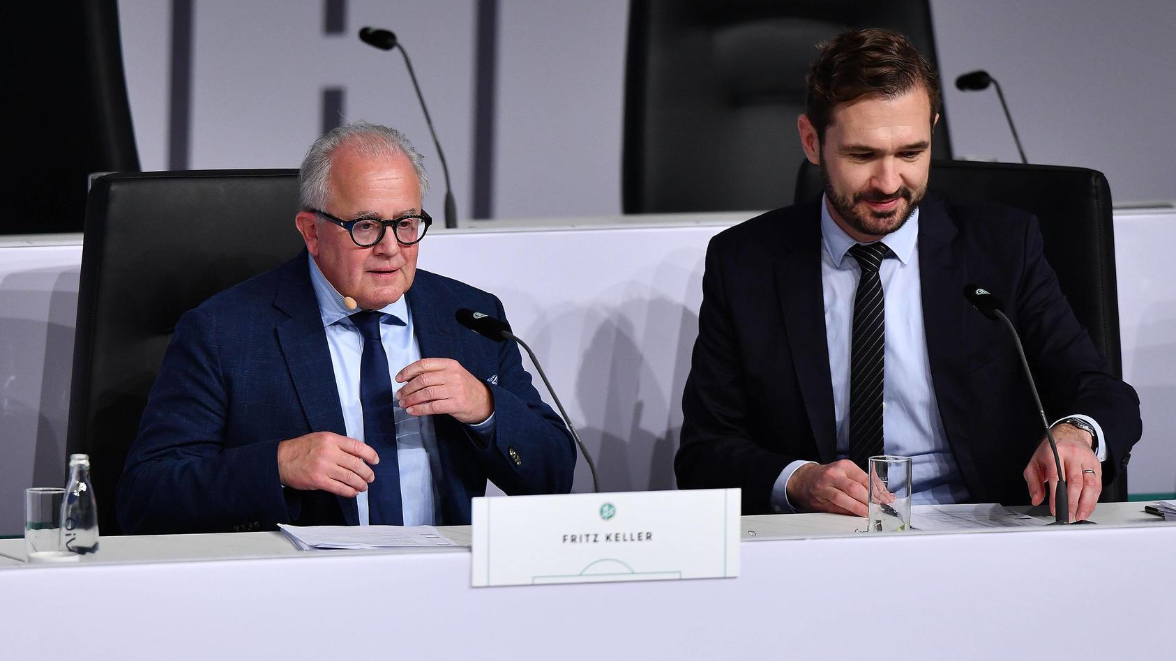 Die Oberen des DFB: Präsident Fritz Keller (links) und Generalsekretär Friedrich Curtius.
