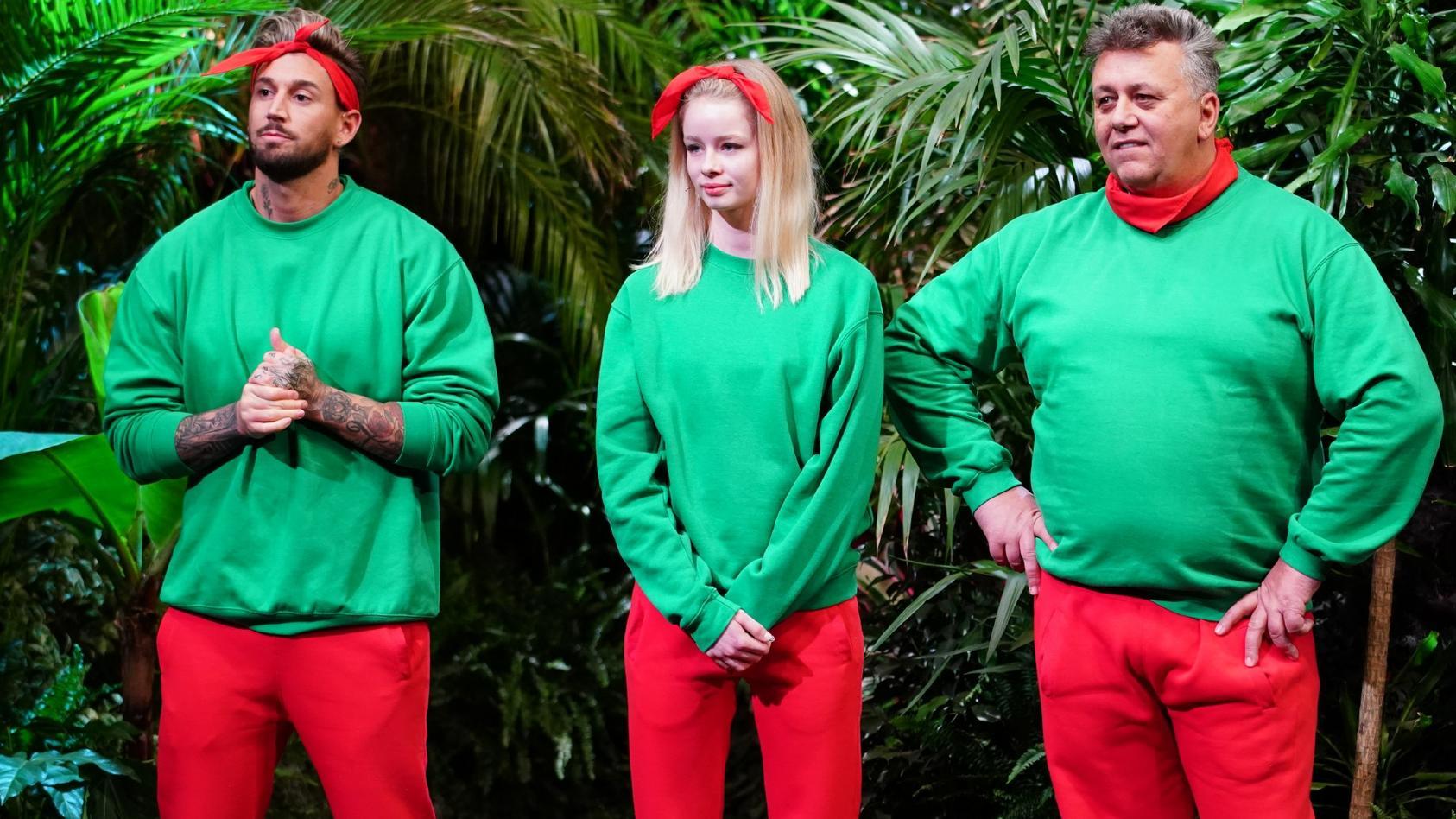 Die drei ersten Dschungelshow-Kandidaten: Mike Heiter, Zoe Saip und Frank Fussbroich