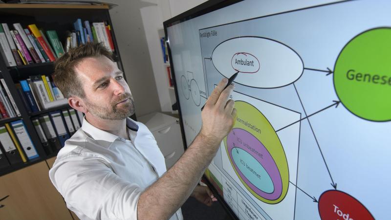 Thorsten Lehr, Pharmazie-Professor steht vor einem Bildschirm mit einer Simulation der Corona-Entwicklung. Foto: Iris Maria Maurer/dpa