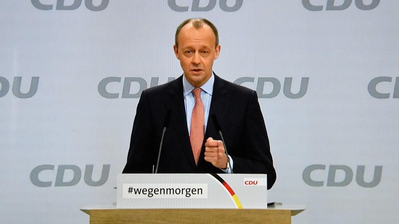 Deutschland, Berlin , 16.01.2021 CDU-Parteitag Foto: Friedrich Merz bei seiner Rede CDU-Parteitag *** Germany, Berlin ,