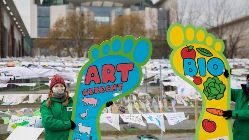 """Aktivisten mit Fußabdruck-Schildern bei der Demo unter dem Motto """"Wir haben es satt!"""". Foto: Christoph Soeder/dpa"""