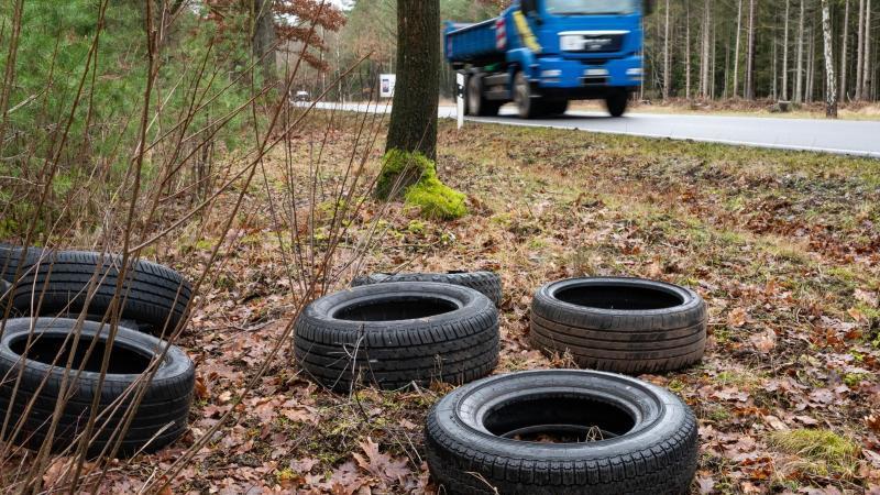 Illegal entsorgte Autoreifen liegen in einem Waldstück an einer Straße. Foto: Philipp Schulze/dpa/Symbolbild