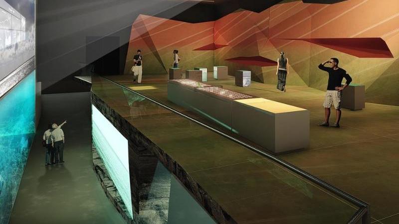 Die Visualisierung zeigt einen Raum der geplanten Erlebnis-Ausstellung Bluehouse. Foto: -/studio klv/dpa/Handout