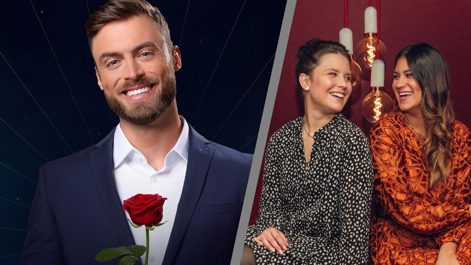 """Inken Wriedt (m.) und Steffi Brungs (r.) kümmern sich im """"Der Bachelor""""-Podcast um die wöchentliche Dosis """"Mädelsabend""""."""