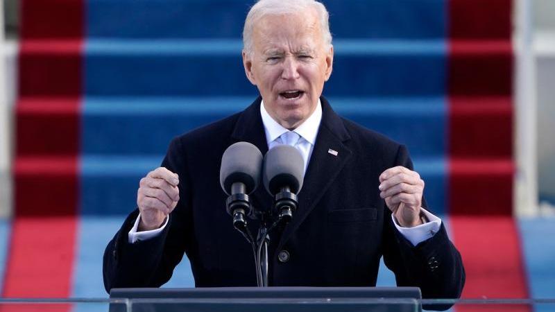 US-Präsident Joe Biden hält nach seiner Vereidigung eine Rede. Foto: Patrick Semansky/AP Pool/dpa