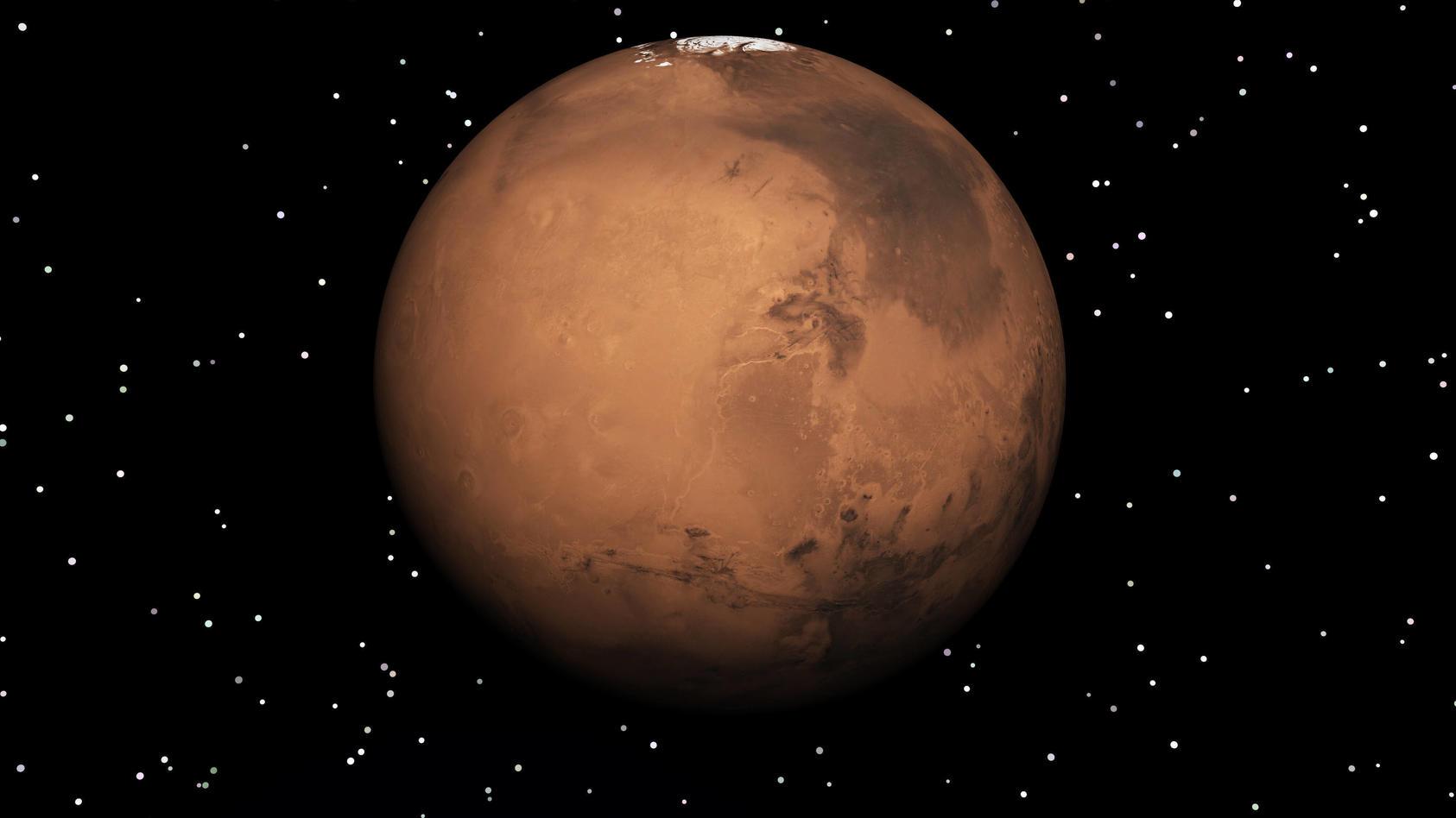 Noch ist der Mars am Nachthimmel gut sichtbar.