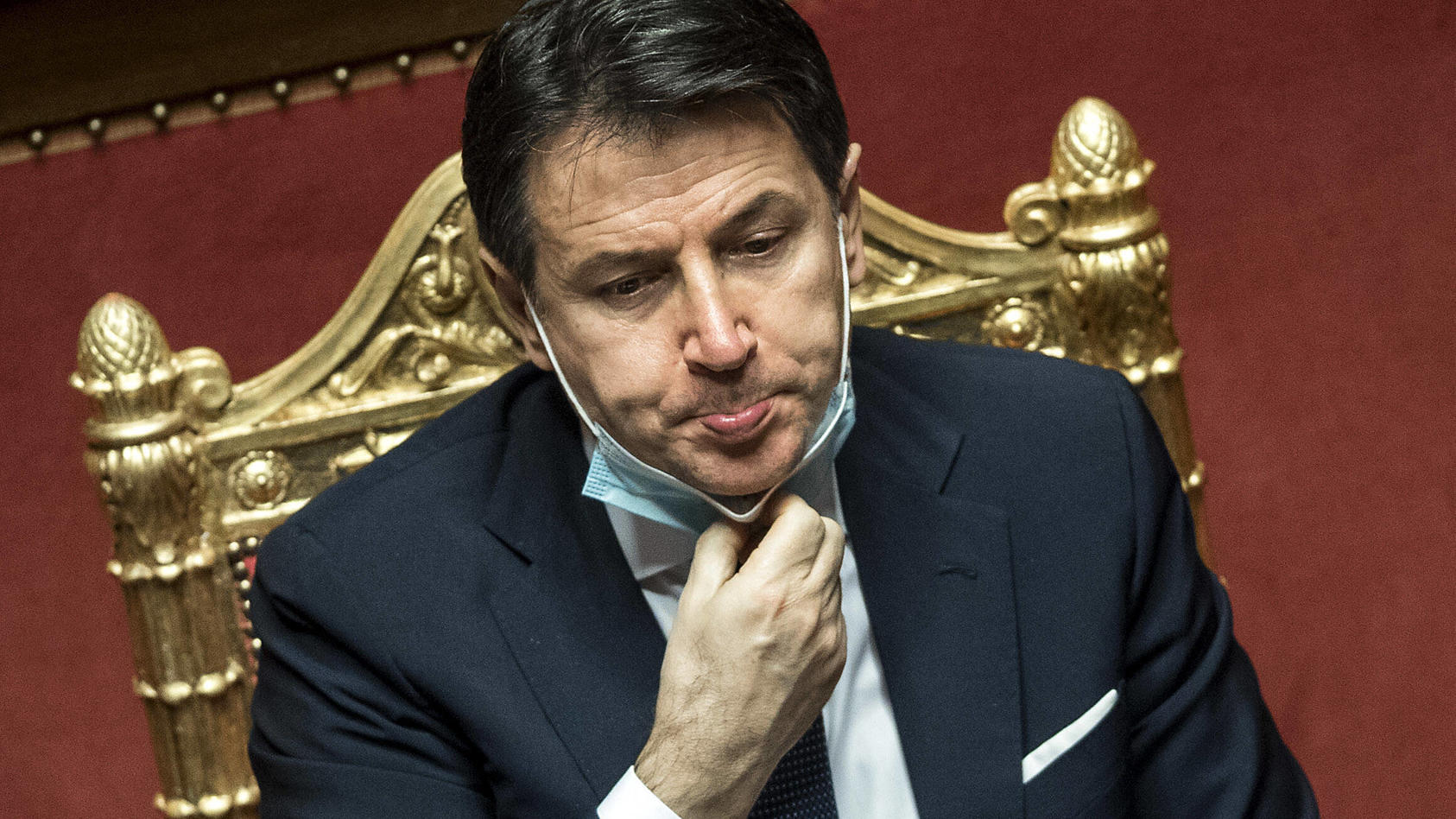 The Italian Premier Giuseppe Conte during the information at the Senate about the government crisis. Rome(Italy), Janua