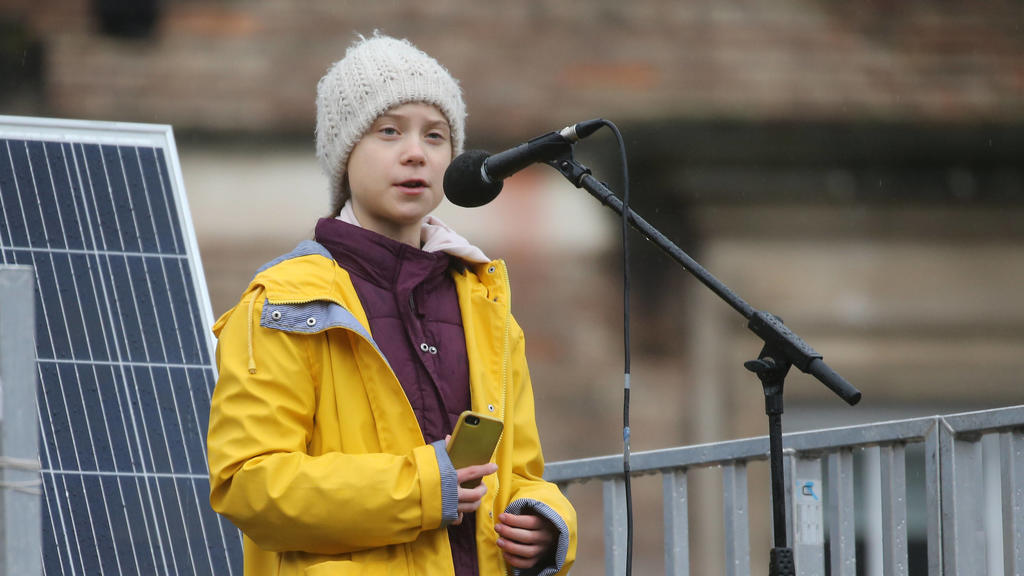 Bristol youth strike 4 climate protest Environmental activist Greta Thunberg speaks at the Bristol Youth Strike 4 Climate protest at College Green in Bristol. Picture date: Friday February 28, 2020. Photo credit should read: EMPICS/EMPICS Entertainm