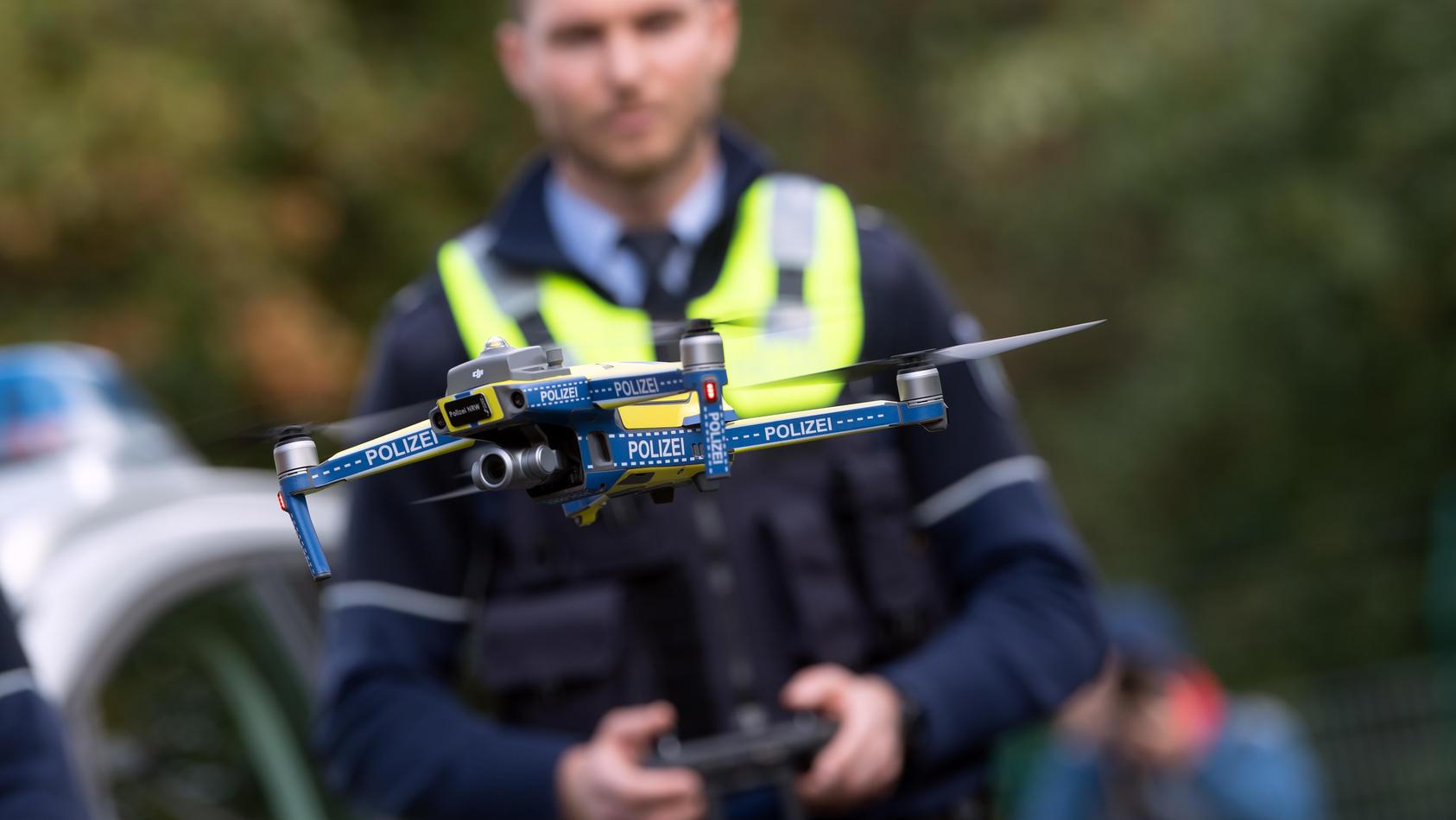 Eine Drohne durch die Polizei im Einsatz