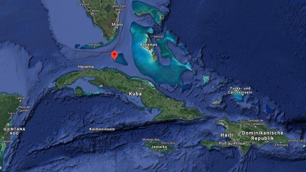 Die drei kubanischen Staatsangehörigen retteten sich auf diese unbewohnte Insel, die zur Gruppe der Bahamas zählt.