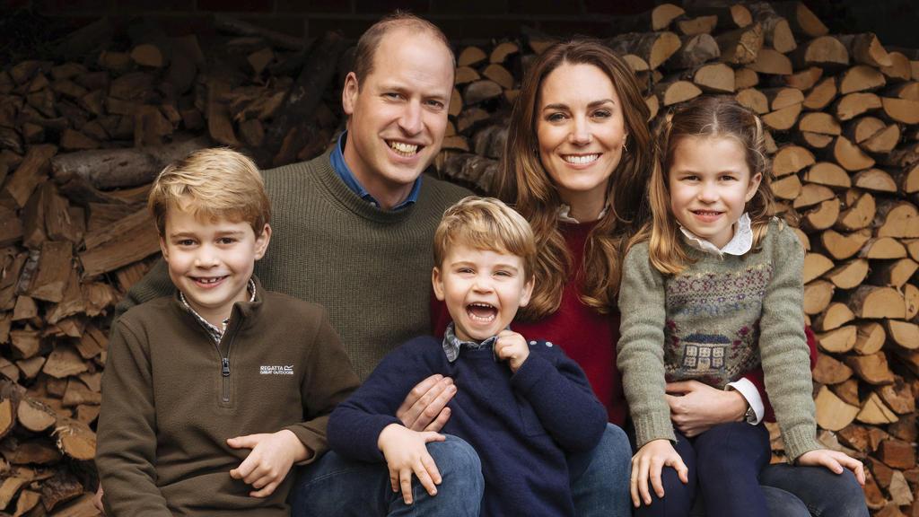 Prinz William und seine Frau Kate mit ihren drei Kindern.